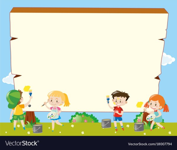 Border Template With Kids Painting Royalty Free Vector