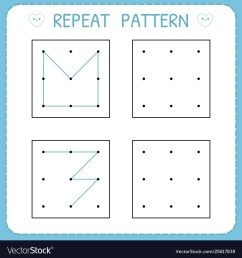 Repeat pattern working pages for kids worksheet Vector Image [ 1080 x 1000 Pixel ]
