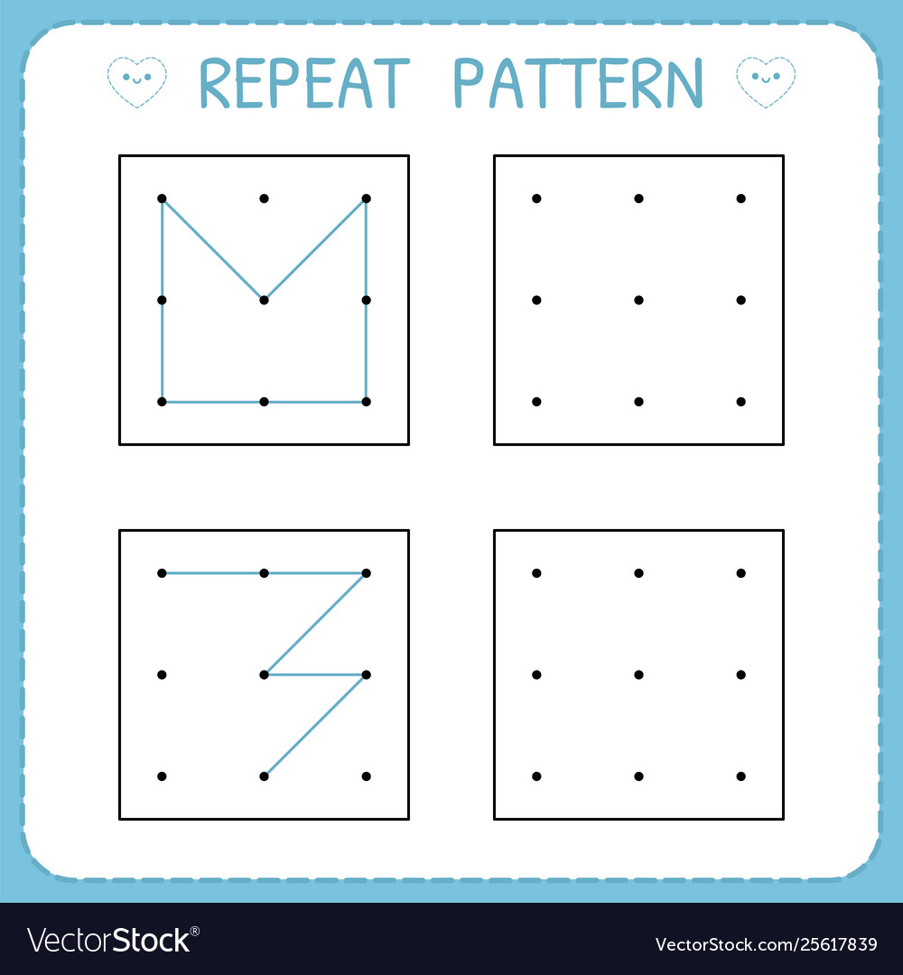 hight resolution of Repeat pattern working pages for kids worksheet Vector Image