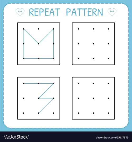 small resolution of Repeat pattern working pages for kids worksheet Vector Image