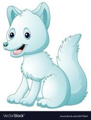 arctic fox cartoon cute sitting vector royalty vectors