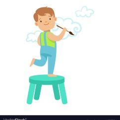 Little Boy Chairs Black Bedroom Chair Happy Smiling Standing On A And Vector Image