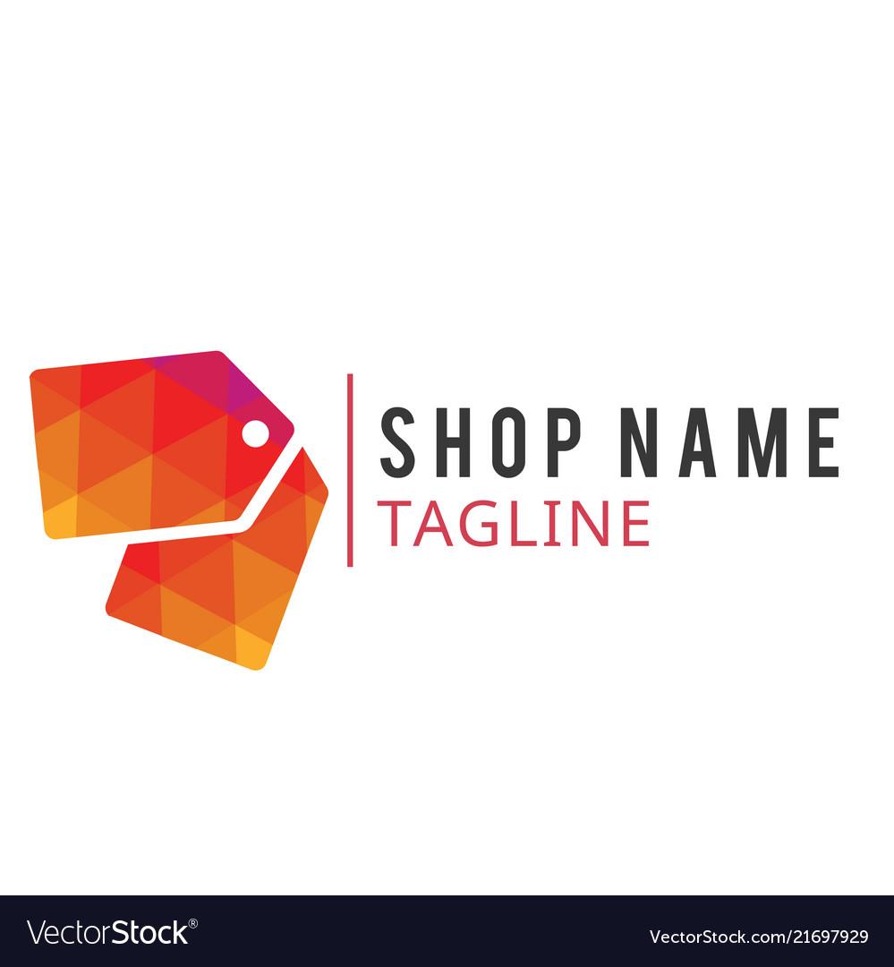 Shop Name Tag Line Design Red Tag Background