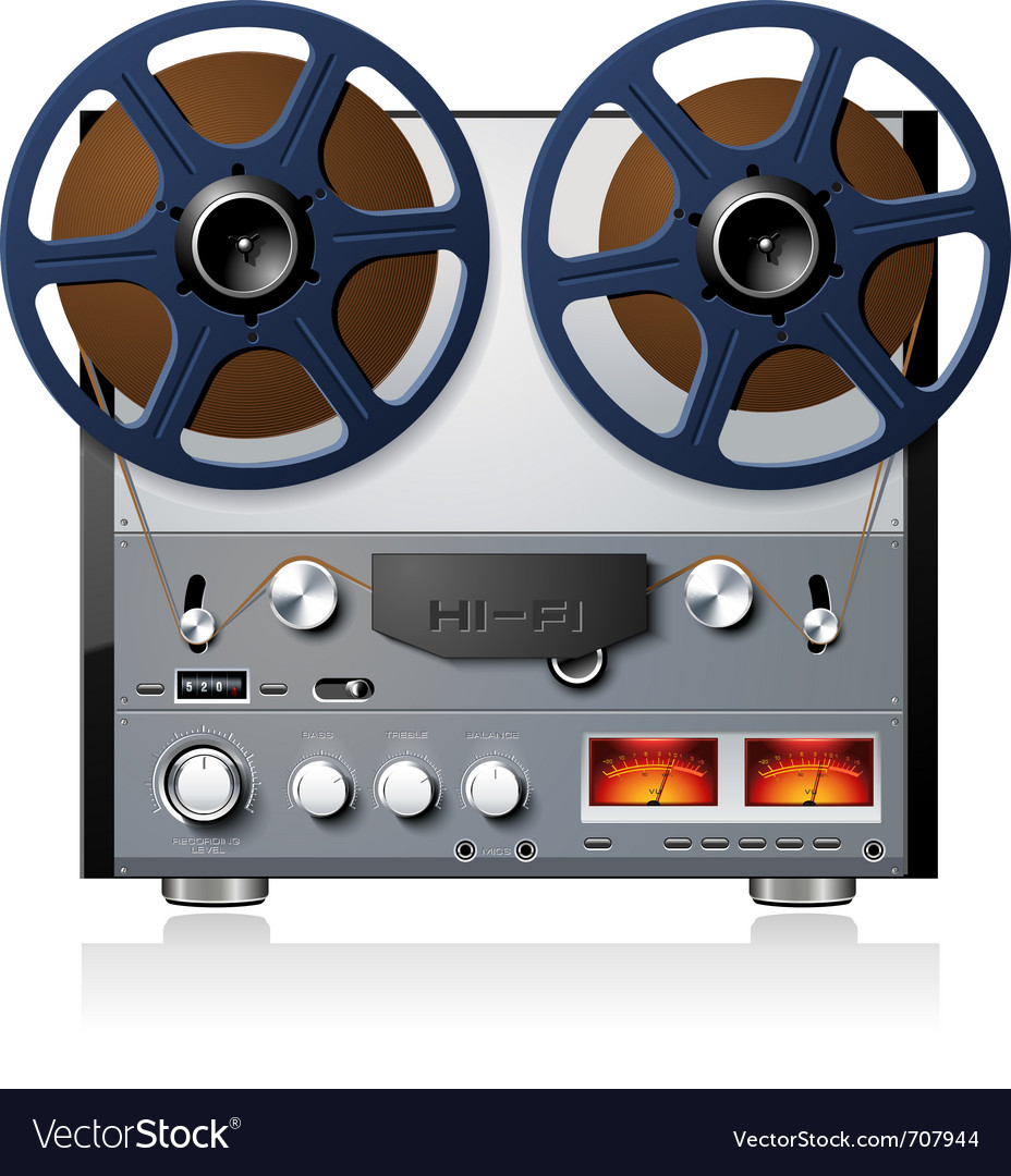 hight resolution of analog stereo reel to reel tape deck vector image