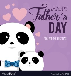 happy fathers day card with panda bears vector image [ 1000 x 1075 Pixel ]
