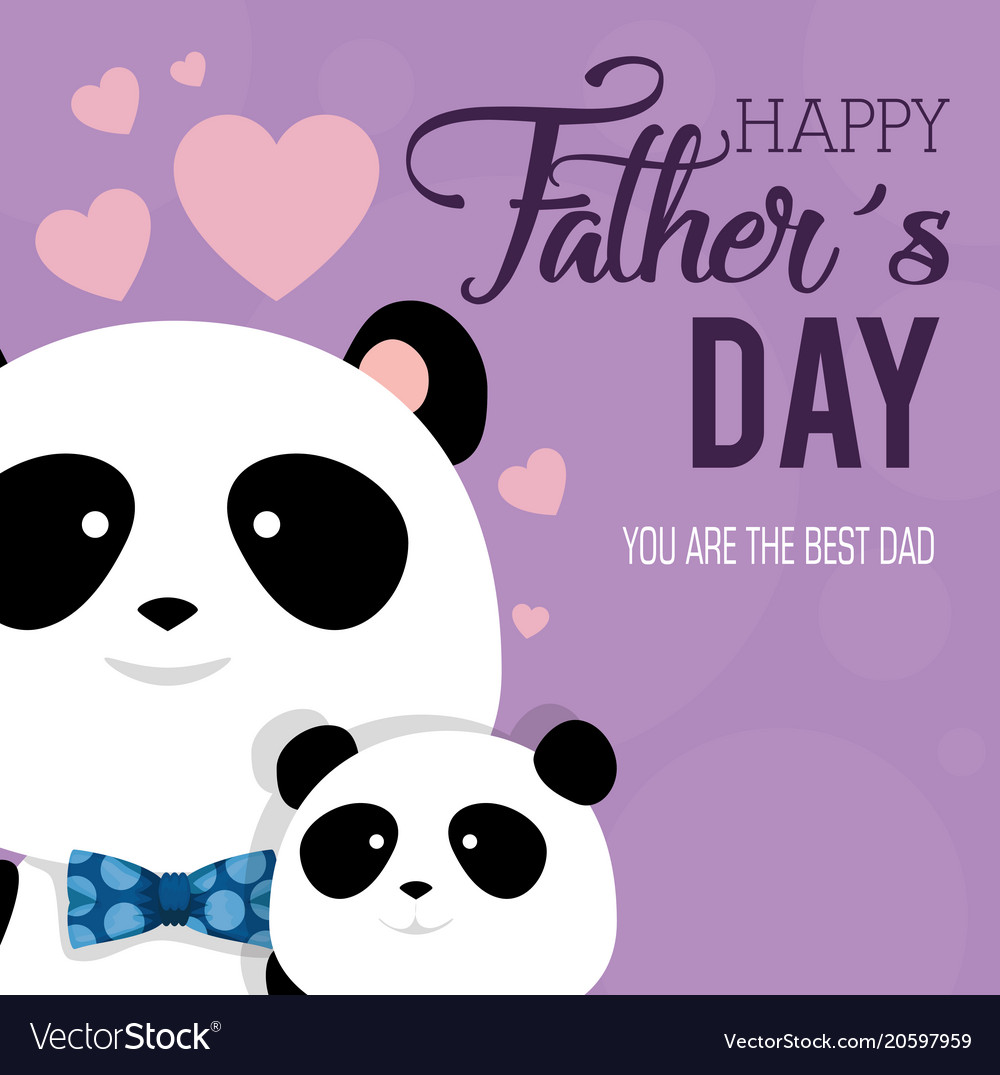hight resolution of happy fathers day card with panda bears vector image