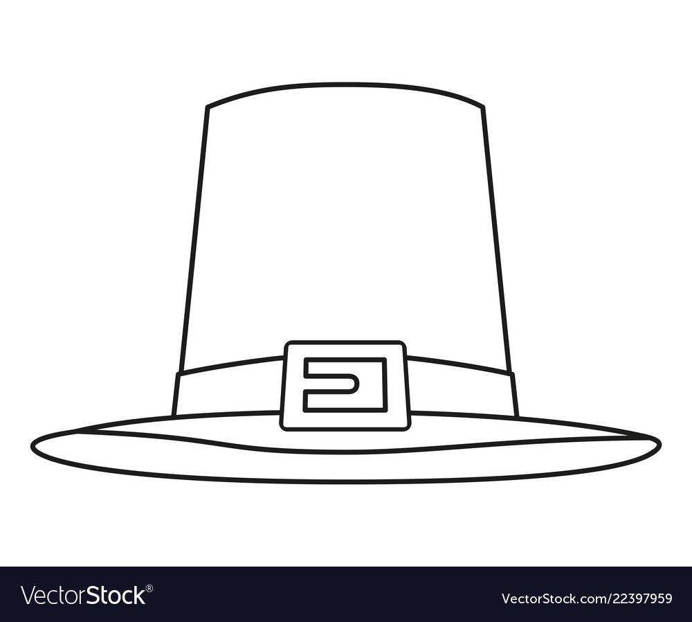 Line Art Black And White Thanksgiving Hat Vector Image