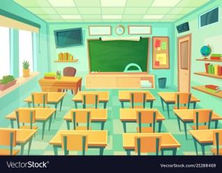 Empty cartoon classroom school room with class Vector Image