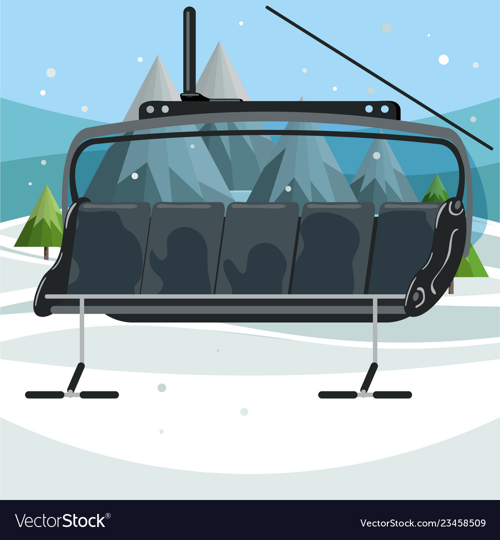 ski chair lift hanging egg outdoor empty on mountains background vector image