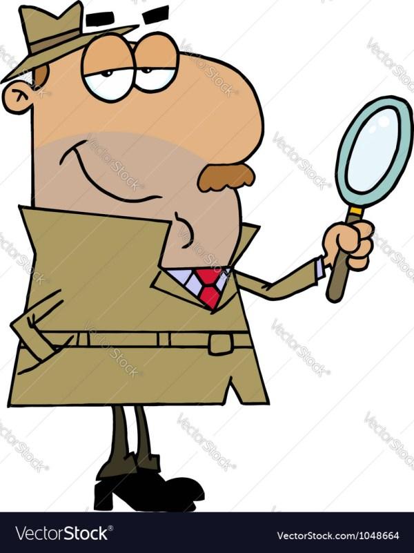 Hispanic Cartoon Detective Man Royalty Free Vector