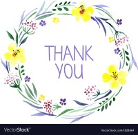 Thank you card with watercolor floral bouquet Vector Image