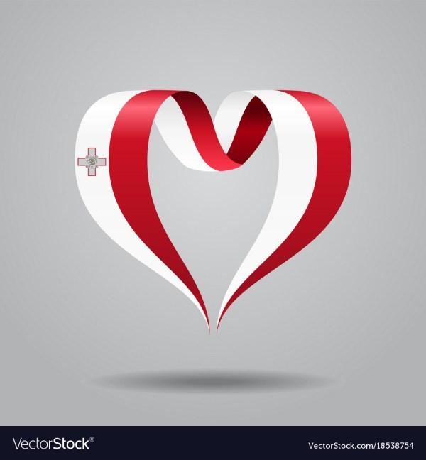 Maltese Flag Heart-shaped Ribbon Royalty Free Vector