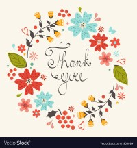 Thank you card with floral wreath Royalty Free Vector Image