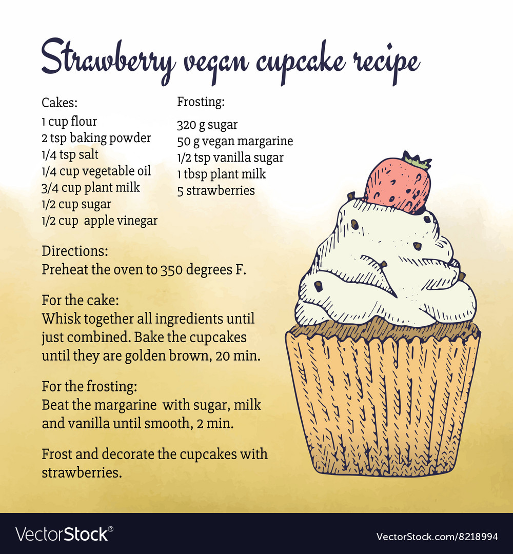 Hand-made vegan cupcake recipe card template with Vector Image