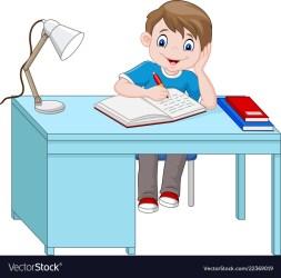 Cartoon little boy studying Royalty Free Vector Image