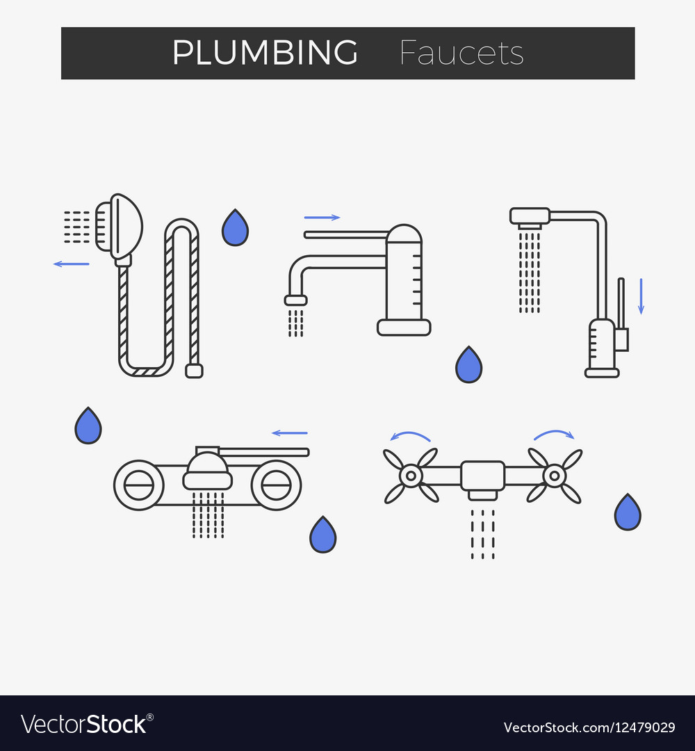 hight resolution of faucets water tap thin line icons set vector image