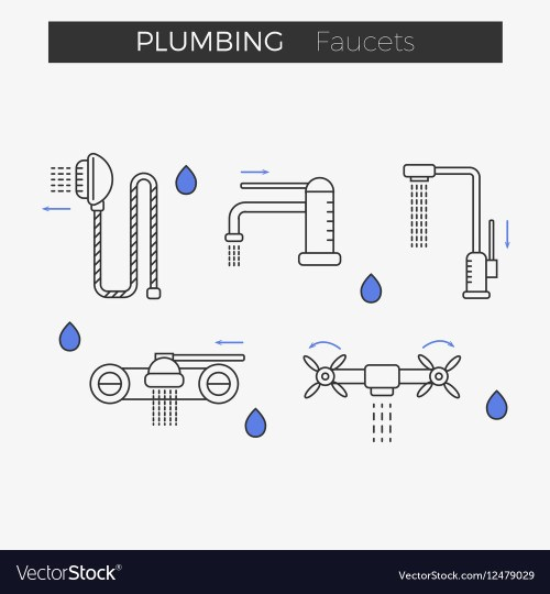 small resolution of faucets water tap thin line icons set vector image