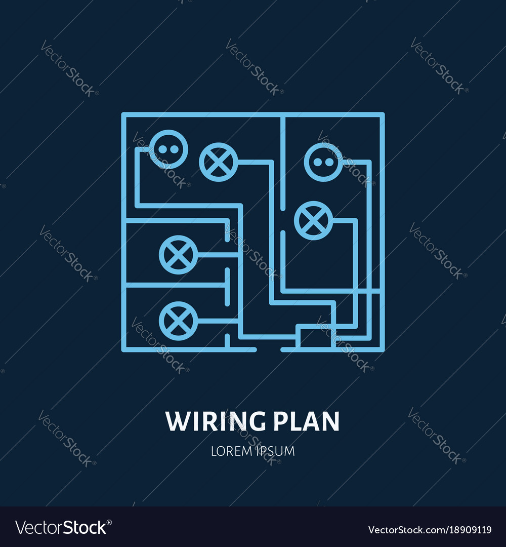 hight resolution of wiring plan flat line icon sign of vector image
