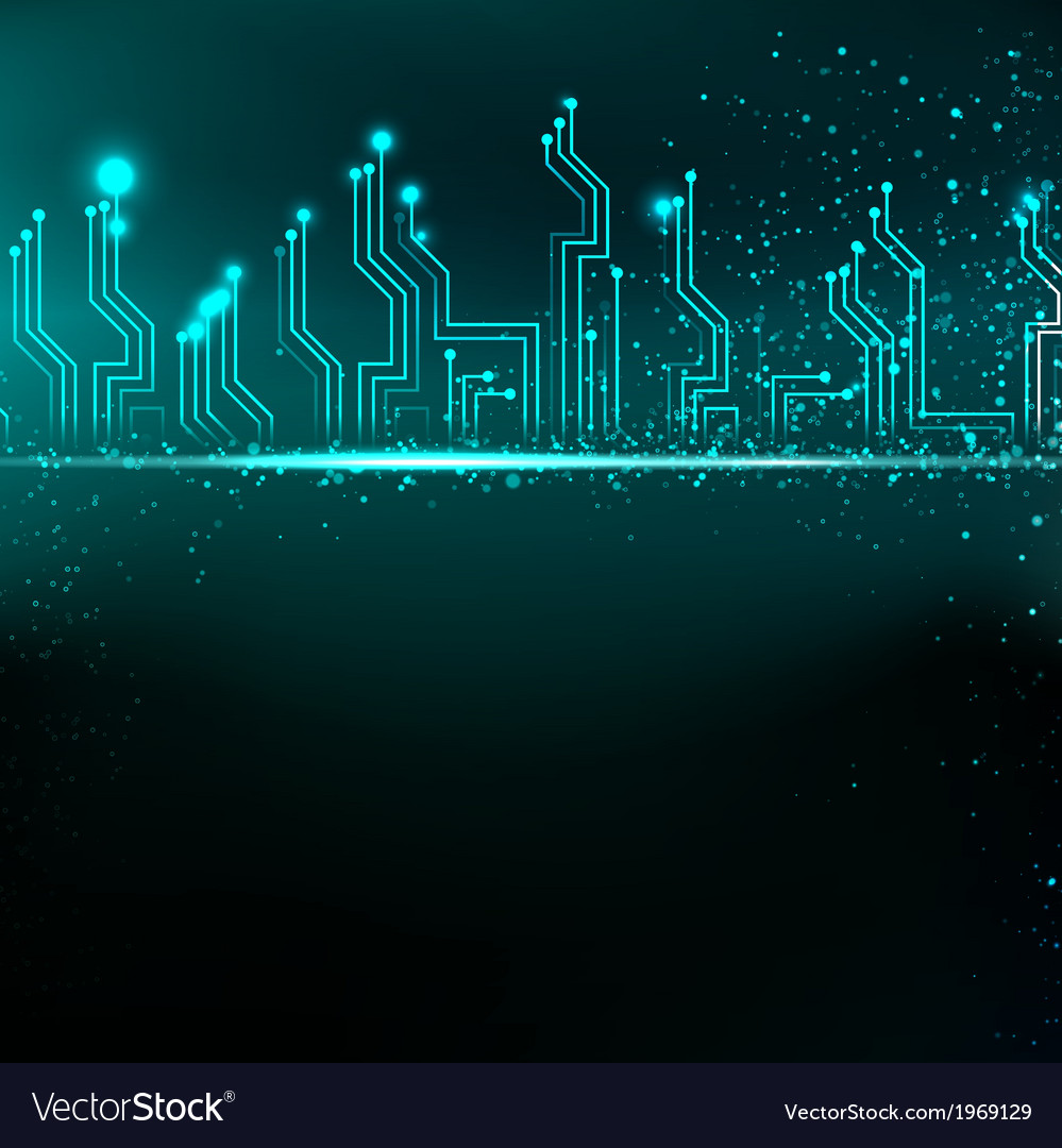 medium resolution of circuit board background with blue electronics vector image