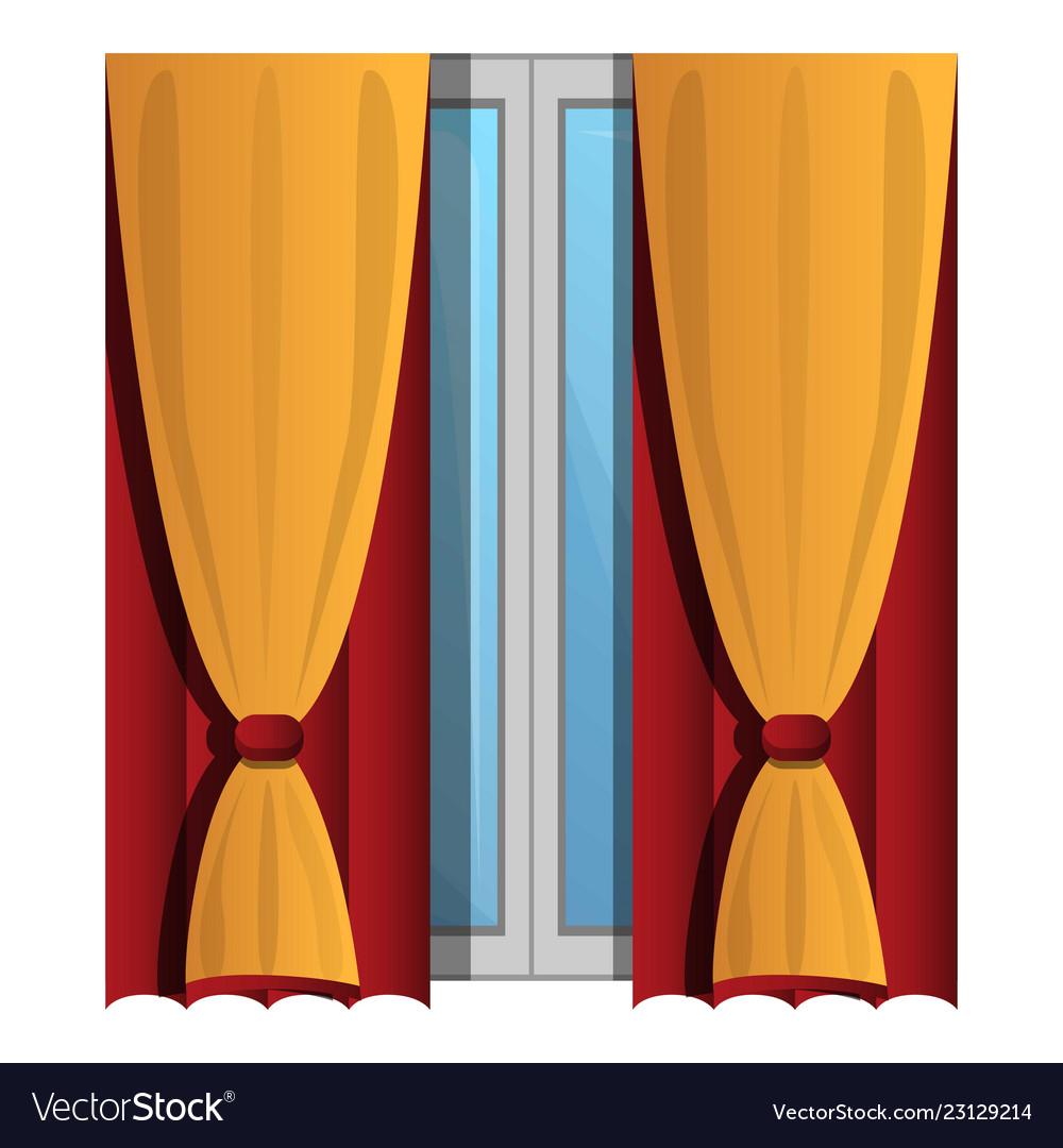 yellow window curtains icon