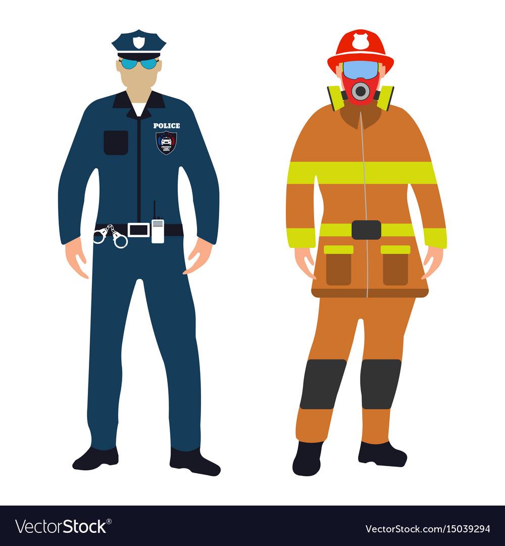 policeman and fireman cartoon