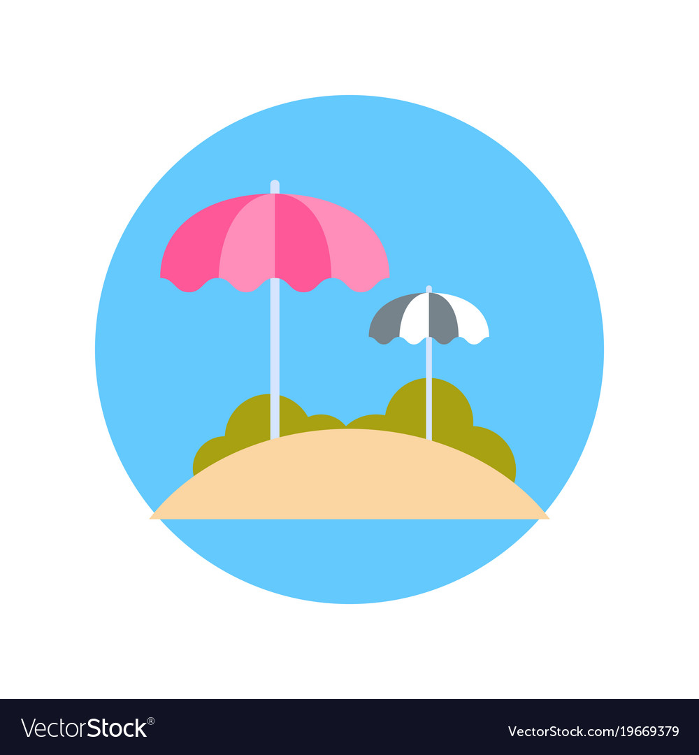 Beach With Sun Umbrellas Icon Summer Vacation On Vector Image