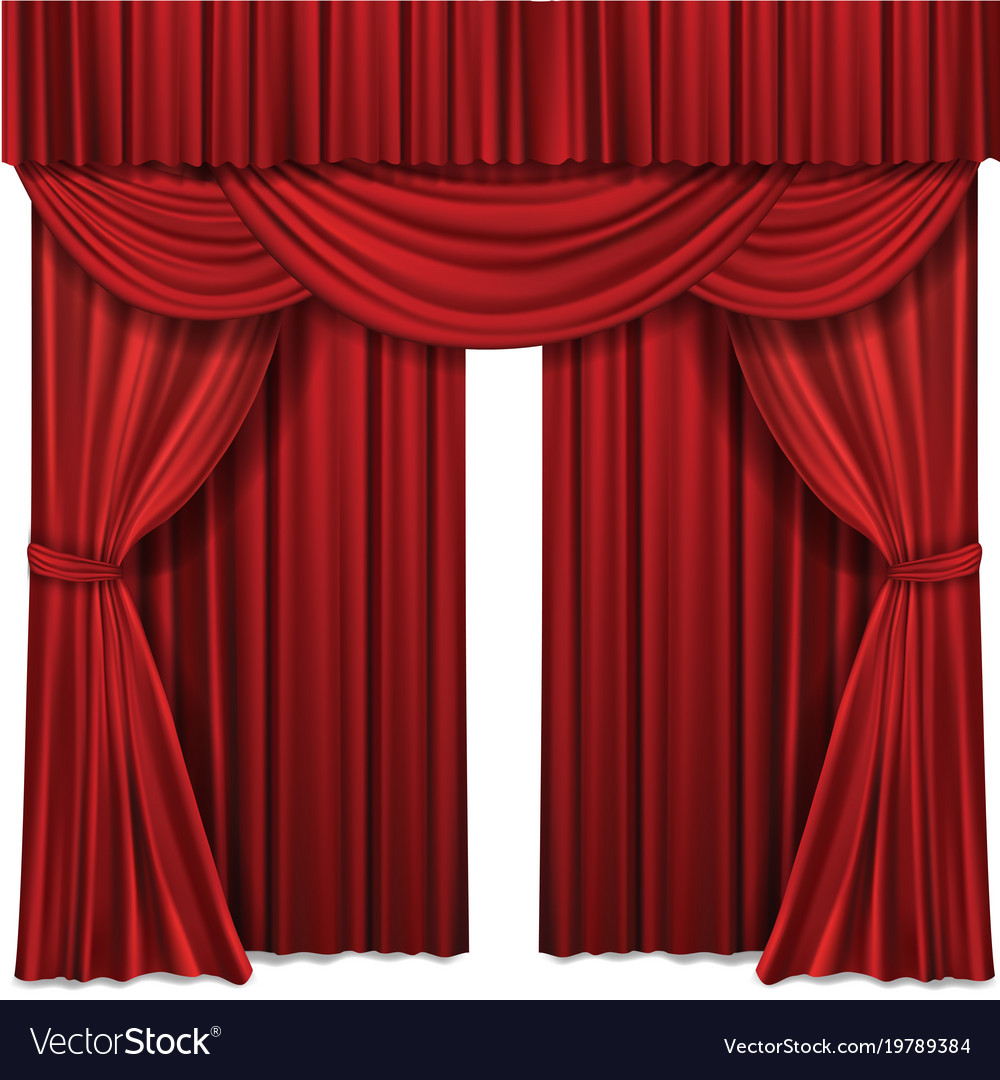 Red stage curtains realistic Royalty Free Vector Image