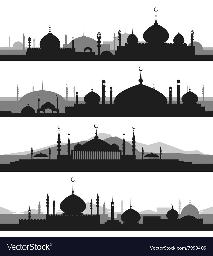 Mosque Silhouette Vector : mosque, silhouette, vector, Islamic, Cityscape, Mosque, Silhouettes, Vector, Image