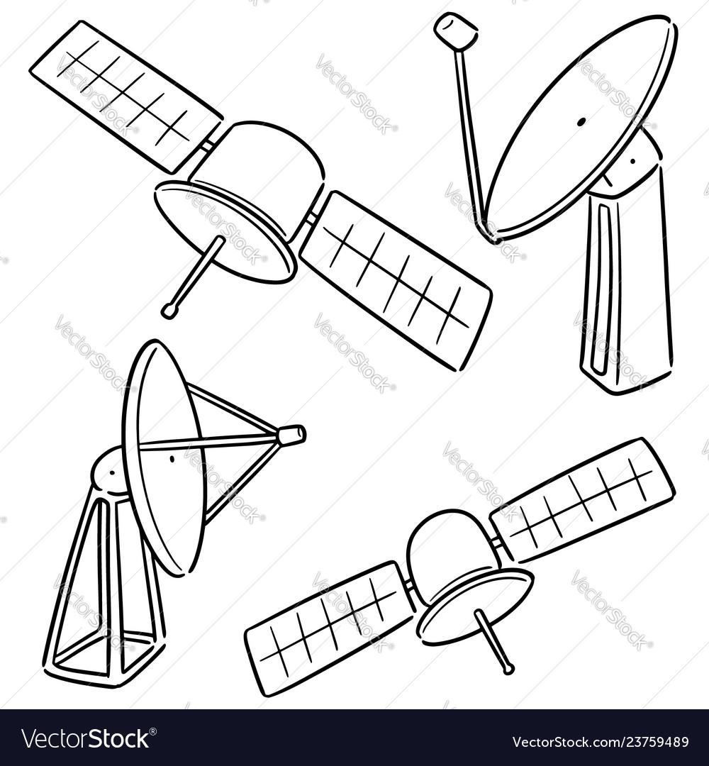 medium resolution of set of satellite and satellite dish vector image
