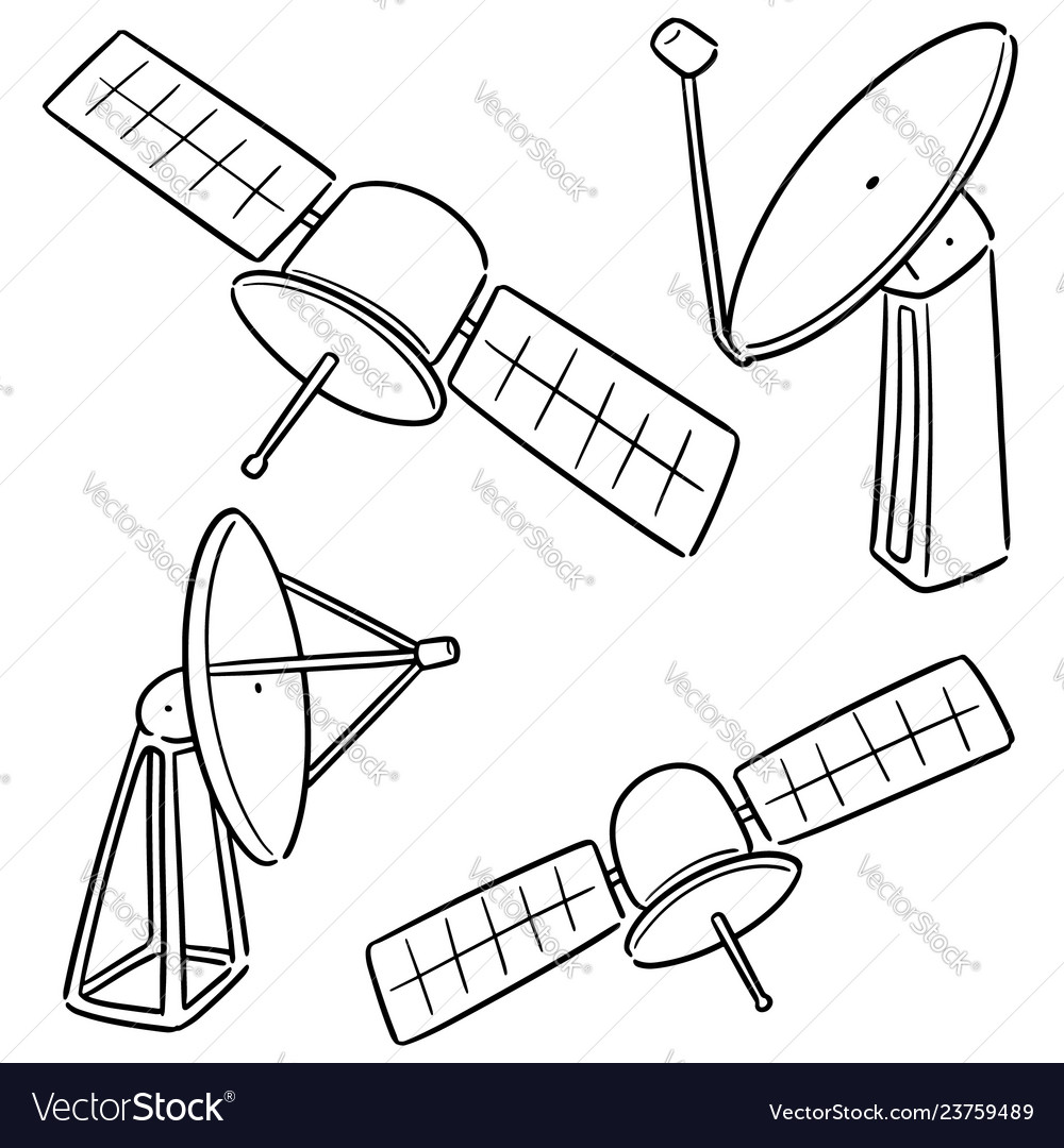 hight resolution of set of satellite and satellite dish vector image