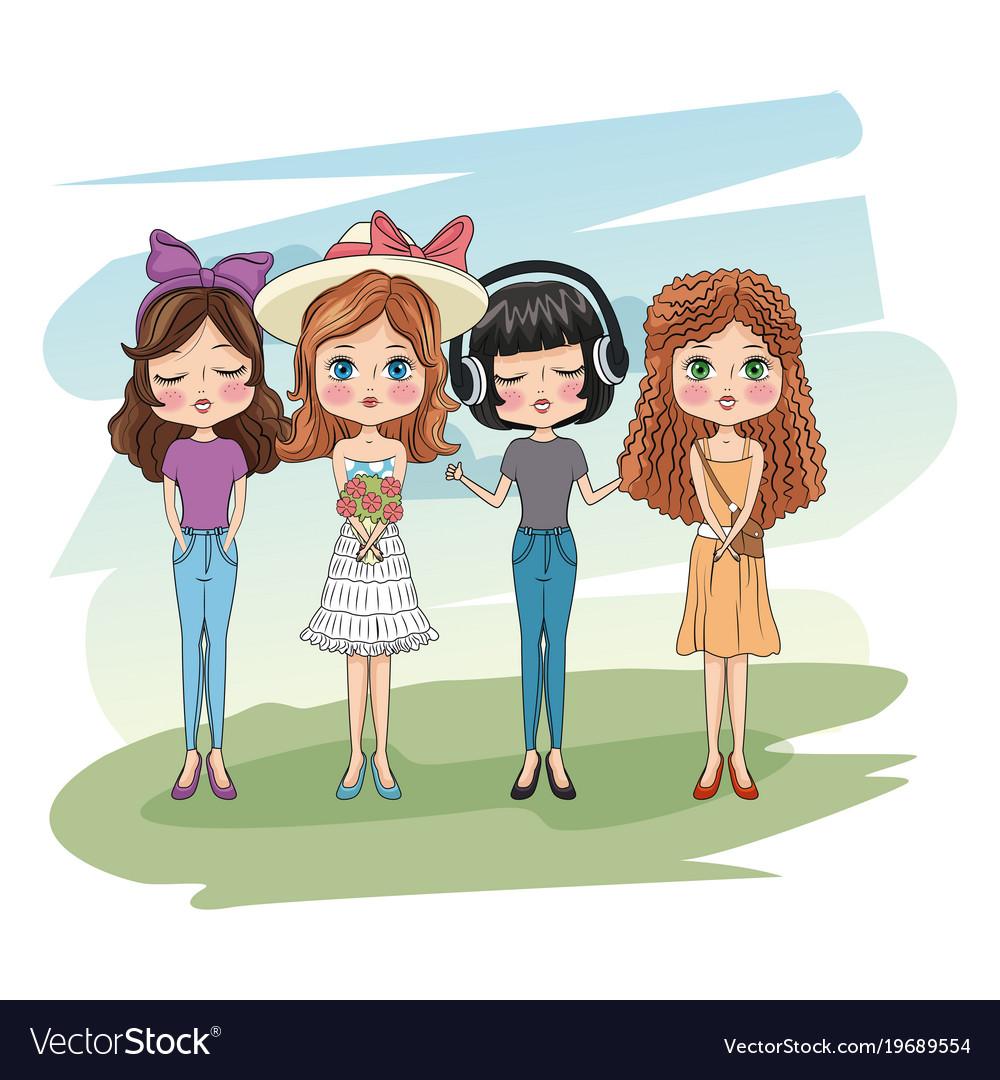 cute girls friends cartoon