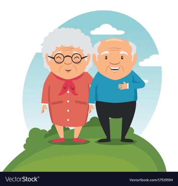 Happy Grandparents Cartoon Royalty Free Vector