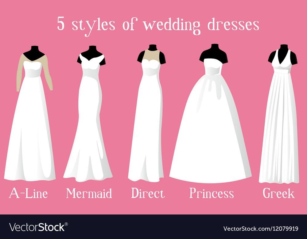 wedding dresses of different