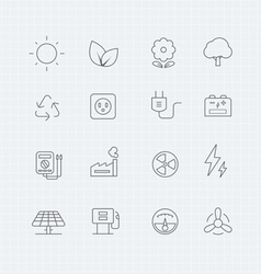 Power symbol line icon set Royalty Free Vector Image