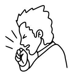 Cartoon sick infected man coughing or sneezing Vector Image