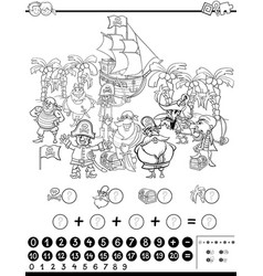 Desert island cartoon coloring page Royalty Free Vector