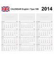 Calendar 2014 English Type 15 Royalty Free Vector Image