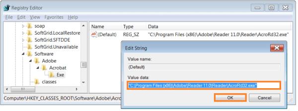 Adobe Acrobat Reader - введите путь к Adobe Reader - WindowsWally