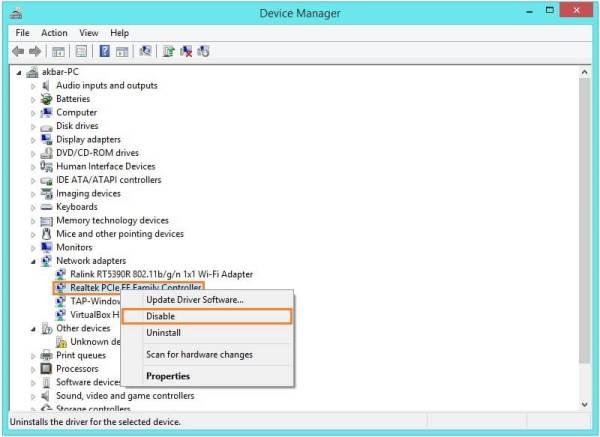 BUGCODE NDIS DRIVER - Диспетчер устройств Windows 8 - Щелкните правой кнопкой мыши - Отключить - Windows Wally