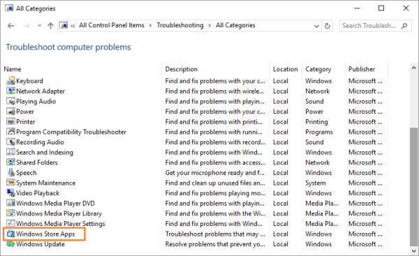 0x8E5E0407 - Windows 10 - Панель управления - Устранение неполадок - Vew all - Приложения магазина Windows - Windows Wally