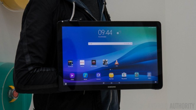 The Samsung Galaxy View facing forwards with a person behind it.