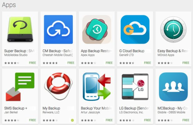 Backup apps google play store
