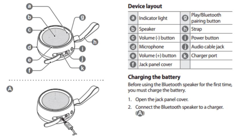 Samsung Scoop Bluetooth Splash Resistant Wireless Speaker