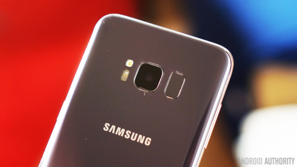 The Samsung Galaxy S8 camera and fingerprint scanner.