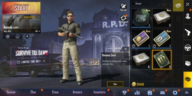 PUBG Mobile change name ID Card