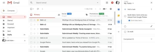 Google Gmail Task interface