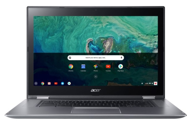 A rendered image of the Acer Chromebook Spin 15 viewed head-on with the screen on.