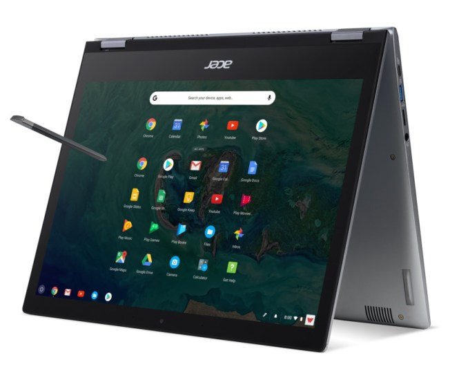 A rendered image of the Acer Chromebook Spin 13 in tent mode.