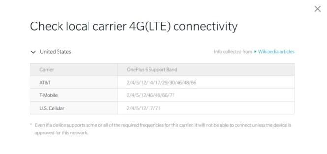 OnePlus 6 connectivity check box