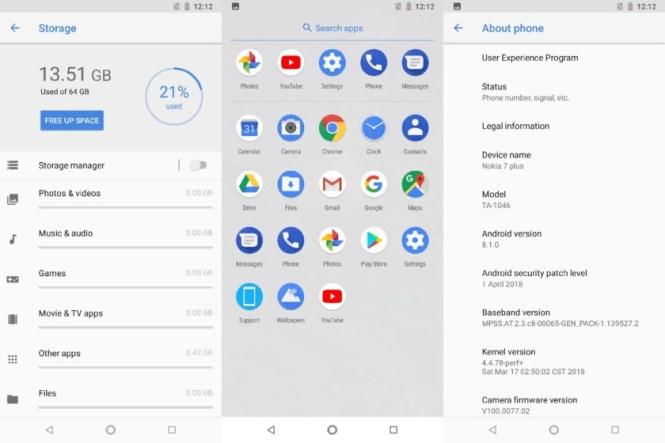Nokia 7 plus software screenshots
